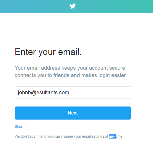 Twitter [Email Verification]